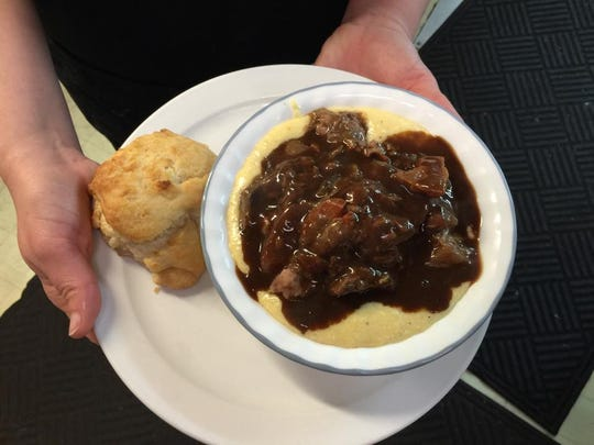 Pot roast atop mashed potatoes is served at Miller's Grocery in Christiana.