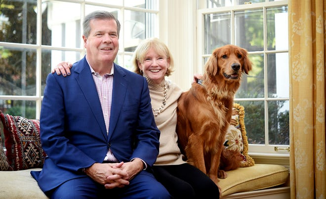 Karl Dean and his wife, Anne Davis, and their dog, Yaz, spend time in their Nashville home Wednesday, Oct. 24, 2018. Dean and Davis have been married for 35 years.