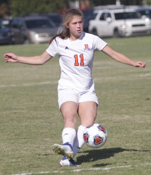 Beech's Hailey Burroughs shoots and scores her first goal of the game against South Gibson on Wednesday, October 24, 2018.