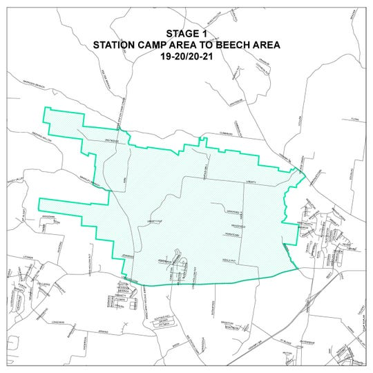 This map provided by Sumner County Schools shows residences which will be rezoned for the 2019-2020 school year, if approved by the school board.