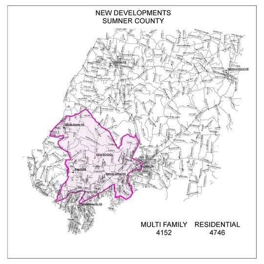 This map provided by Sumner County Schools shows a multitude of approved developments planned for the area where the new schools are being proposed.