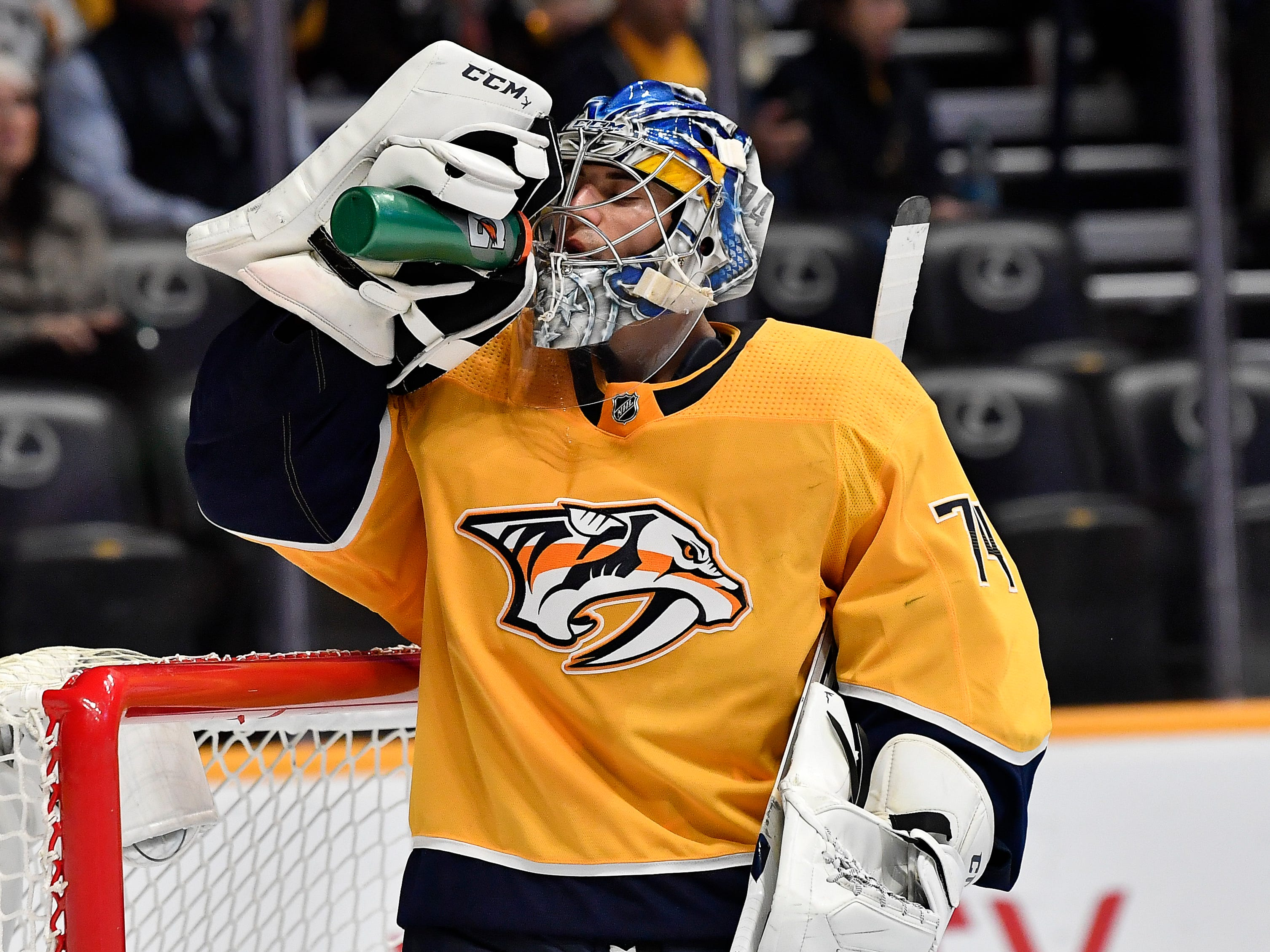 Oct. 23: Sharks 5, Predators 4: Predators goaltender Juuse Saros (74) takes a drink during a break in the action during the second period against the Sharks at Bridgestone Arena Tuesday, Oct. 23, 2018, in Nashville, Tenn.