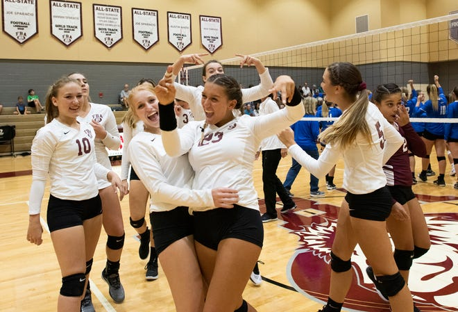 First Baptist Academy celebrates their victory in the regional semifinal game against Sarasota Christian at First Baptist Academy Tuesday night, October 23, 2018.