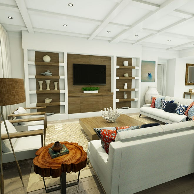 Renee Gaddis Interiors has completed the preliminary design for the interior of the furnished Duval model at Eleven Eleven Central. This rendering is an artist's conception of the Duval great room.