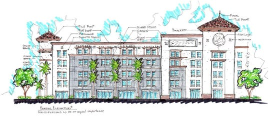 A rendering sketch of the Miromar Hotel.
