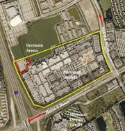 The area outlined in red is the site of the future Miromar Outlets Hotel.