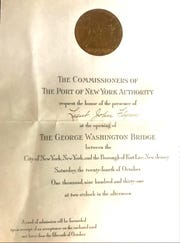 Paramus resident Shawn Kelly shared this family heirloom, an invitation to the grand opening of the George Washington Bridge in 1931. It was sent to Kelly's grandfather, Lt. John Flynn, of the Fort Lee Police Department.