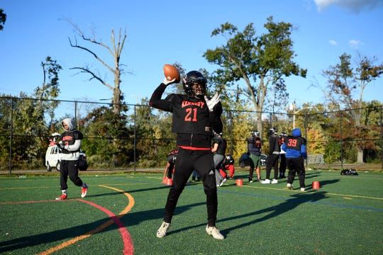 Kennedy quarterback Shaqir Herbert throws the ball during practice on Wednesday, Oct. 24, 2018, in Paterson. Herbert is one of 10 tri-state finalists for the 2018 USA Football Heart of a Giant Award.