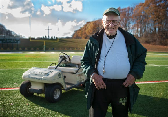 November 24,2014 --  Len Davis, 89, is in his 66th season coaching football and his 14th season as an assistant coach at St. Joseph Regional High School. Davis works with as a special teams coach with the kickers. Davis played for Rutgers University in 1945-1947 seasons as a kicker and began coaching after his graduation.