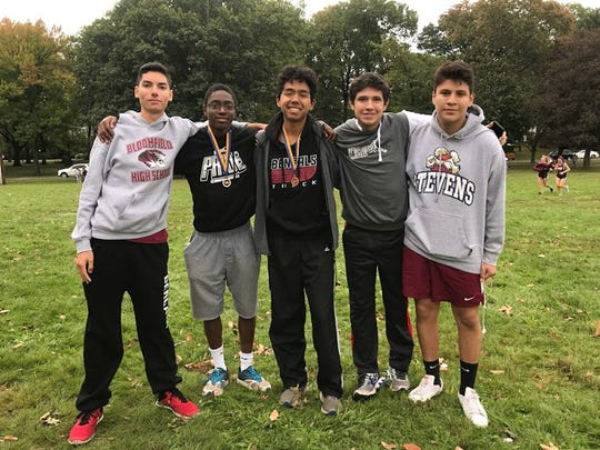 Bloomfield boys cross-country: (from left) Andre Robbins, Rendell Amilcar, Luca Ponticello, Dominic Dominguez and Dennis Diaz.