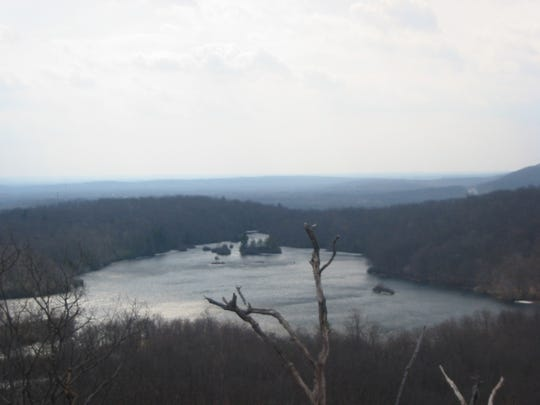 View of Ramapo Lake from the viewpoint on the Castle Point Trail just below the ruins of the mansion.