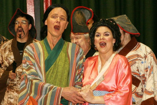 "An earlier ""Mikado"" from the Ridgewood Gilbert & Sullivan archives: John B. Holmboe as the Mikado of Japan, Richard Krauser as Nanki-Poo and Katie Holler as Yum-Yum"