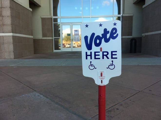 At the entrance to the Doña Ana County Government Center, a polling place during early voting, October 24, 2018.