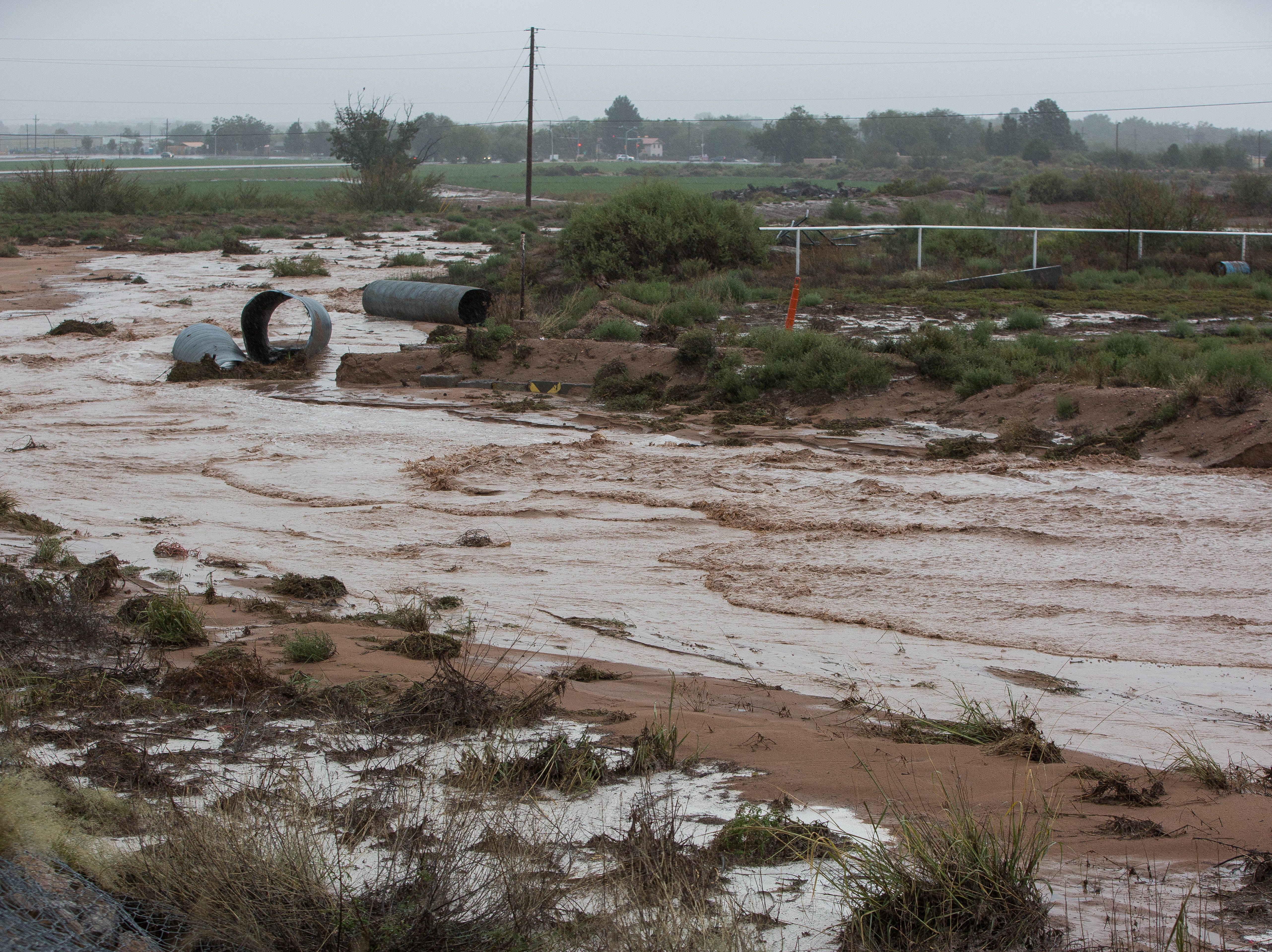 Heavy  rains filled arroyo in the area including one in the Picacho Hills area. Tuesday  October 23, 2018.