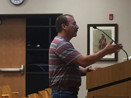 Jimmy Padilla talks to the Carlsbad City Council Oct. 23, 2018 regarding a temporary housing permit at 2608 Tulip Street.