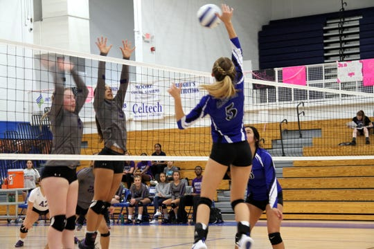 Alexa Sowers goes for a spike against Clovis during the first set of Tuesday's match.