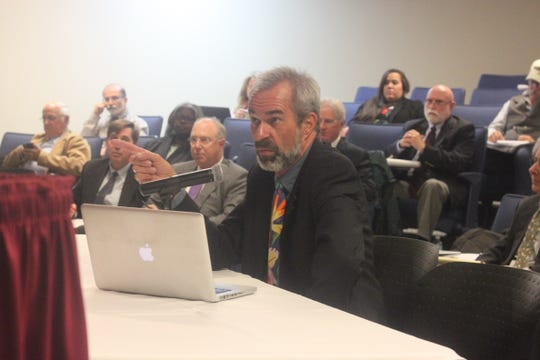 Steve Zappe cross examines a witness during a public hearing on permit modification request for the Waste Isolation Pilot Plant, Oct. 24, 2018 at New Mexico State University Carlsbad.