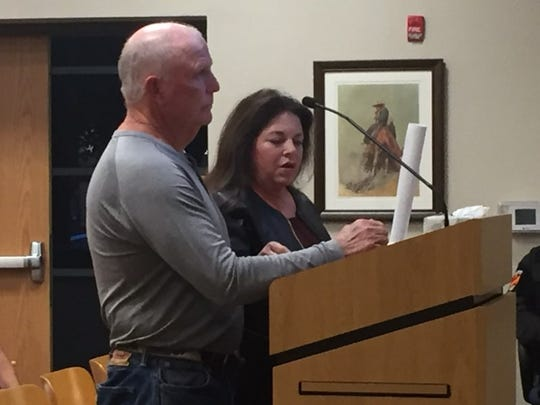 Gary and Cindy Taylor address the Carlsbad City Council Oct. 23, 2018 regarding an expansion of an RV park at 1012 Airport Ave.