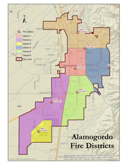 The Alamogordo Fire Department fire districts map.