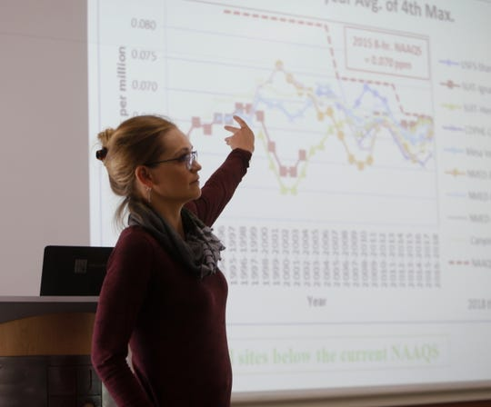 Lisa Devore of the Colorado Department of Public Health and Environment points to a map detailing ozone emissions Wednesday during her presentation at the Four Corners Air Quality Group meeting at San Juan College's School of Energy.