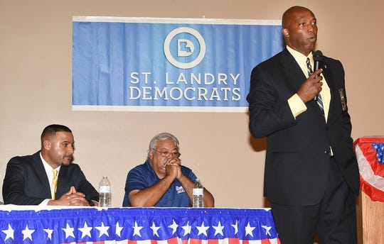 Candidates for Opelousas Police Chief, from left, Graig LeBlanc, Paul Gennuso and Donald Thompson, take part in a political forum hosted by the St. Landry Parish Democratic party.