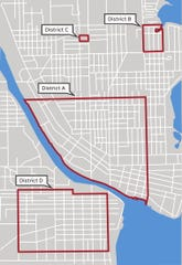This graphic shows the proposed areas within the city Oshkosh that would have rental inspections.