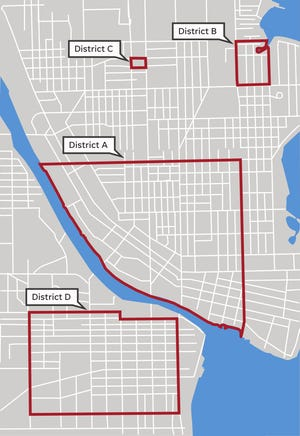 This graphic shows inspection districts proposed at a past Common Council meeting.