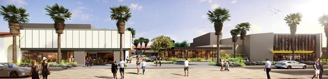 An architectural illustration envisions a remodeled version of the Center, the midcentury shopping district in downtown Palm Springs, as viewed from across North Palm Canyon Drive.