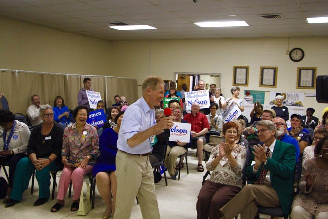 Sen. Bill Nelson speaks to supporters at the Escambia Education Association headquarters in Pensacola on Wednesday, Oct. 24, 2018.