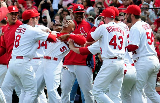 ST. LOUIS, MO - SEPTEMBER 24: Adron Chambers #56 of the St. Louis Cardinals celebrates with his teammates after scoring on a wild pitch by Carlos Marmol #49 of the Chicago Cubs at Busch Stadium on September 24, 2011 in St. Louis, Missouri.  (Photo by Jeff Curry/Getty Images)