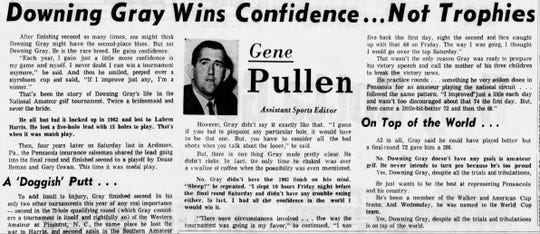 Pensacola News Journal about Downing Gray from Sept. 8, 1966.