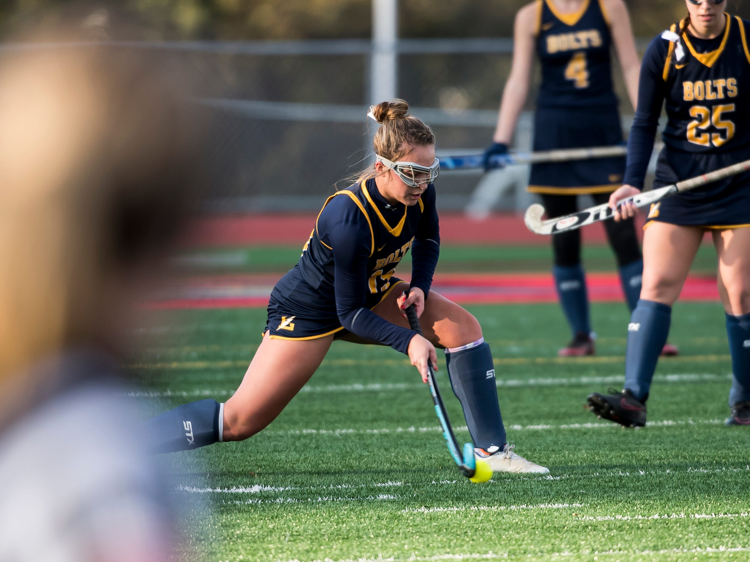 Littlestown's Sophie Bassler passes the ball during a PIAA District III first round game against Boiling Springs at Bermudian Springs High School on Wednesday, October 24, 2018. The Bolts fell 2-0.