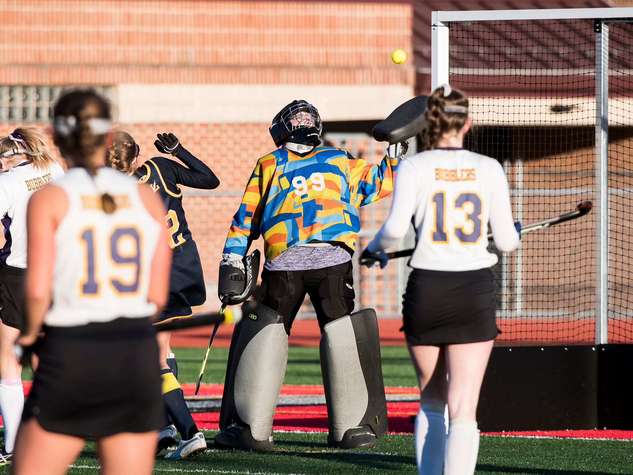 Boiling Springs' goal keeper Carly Galbraith bats away a ball during a PIAA District III first round game against Littlestown at Bermudian Springs High School on Wednesday, October 24, 2018. The Bolts fell 2-0.