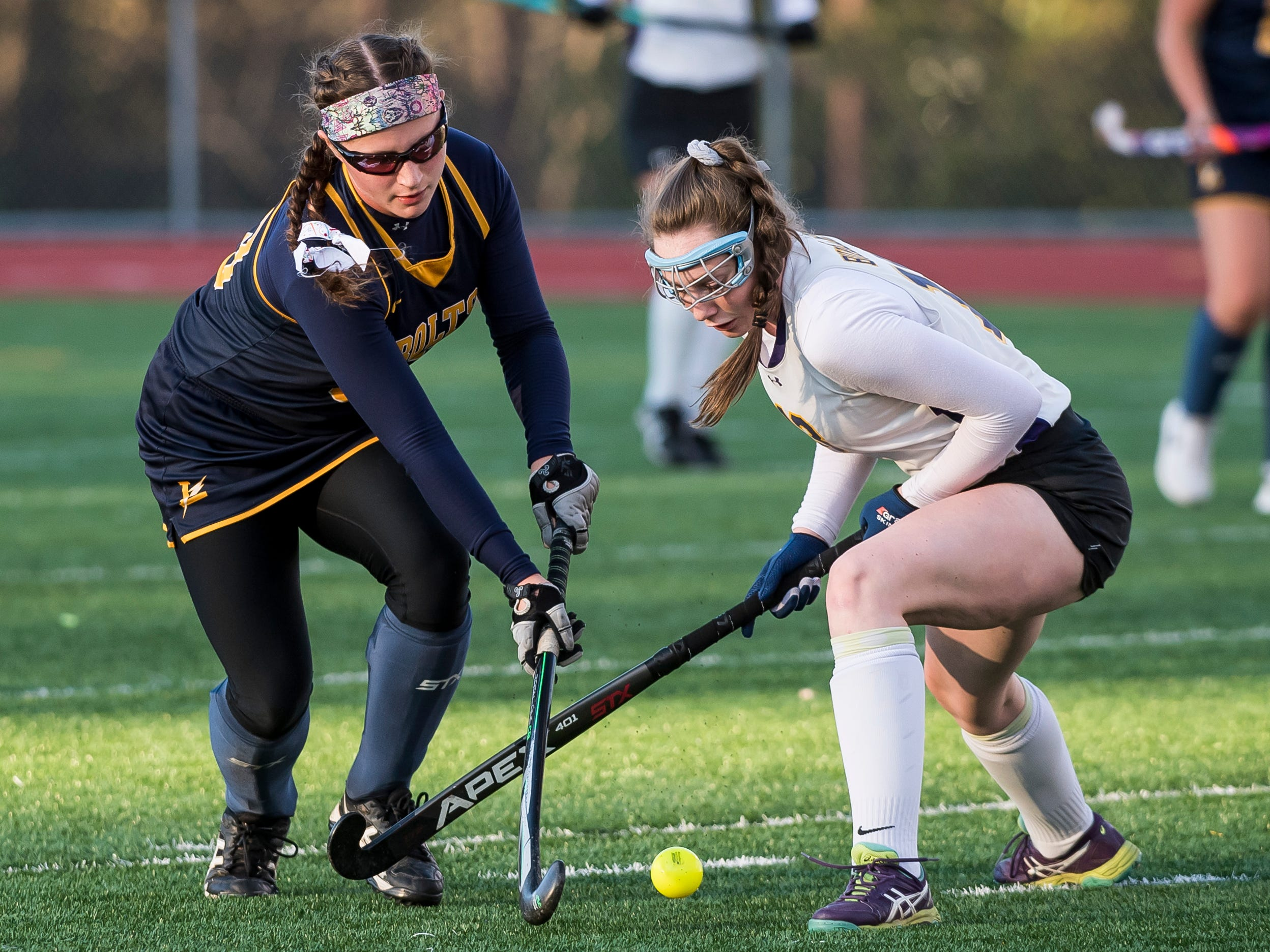 Littlestown's Regan Schroeder moves the ball down the field against Boiling Springs during a PIAA District III first round game at Bermudian Springs High School on Wednesday, October 24, 2018. The Bolts fell 2-0.
