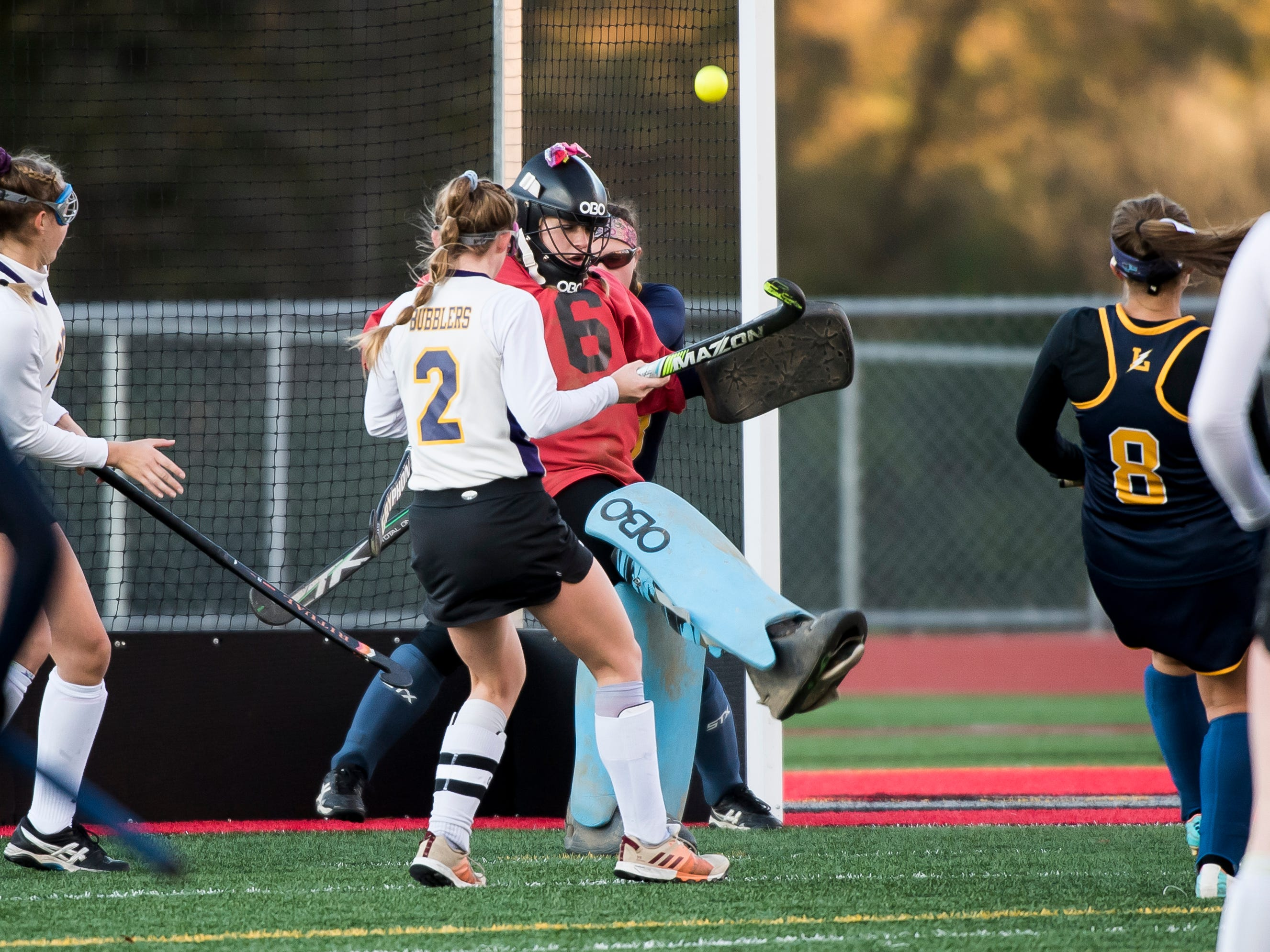 Littlestown goal keeper Ariana Grabowicz kicks away a Boiling Springs shot during a PIAA District III first round game at Bermudian Springs High School on Wednesday, October 24, 2018. The Bolts fell 2-0.