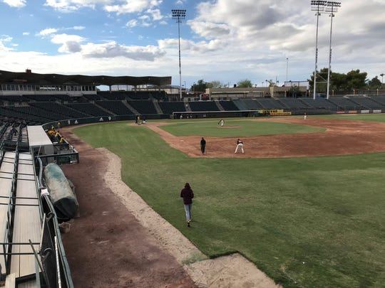 View of Phoenix Municipal Stadium from the deck atop the new ASU batting facility.