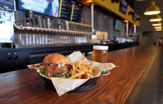 Flix Brewhouse Burger On Bar