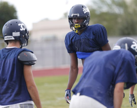 "Jason Harris is part of the ""Sack Attack"" at Higley High in Gilbert, Ariz. October 23, 2018."