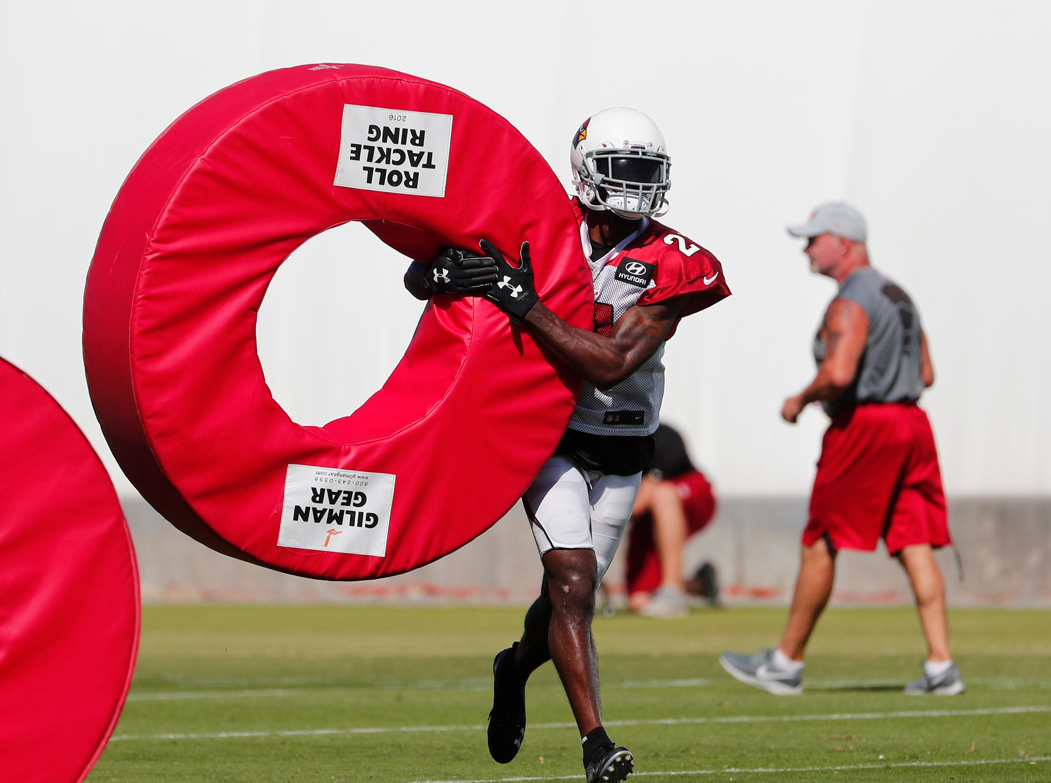 Arizona Cardinals cornerback Patrick Peterson (21) performs a drill during practice in Tempe, Ariz. October 24, 2018.