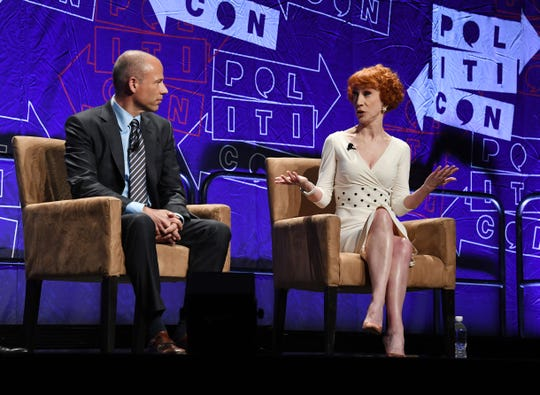 Attorney Michael Avenatti and comedian Kathy Griffin appear at the 2018 Politicon in Los Angeles on Oct. 20, 2018.