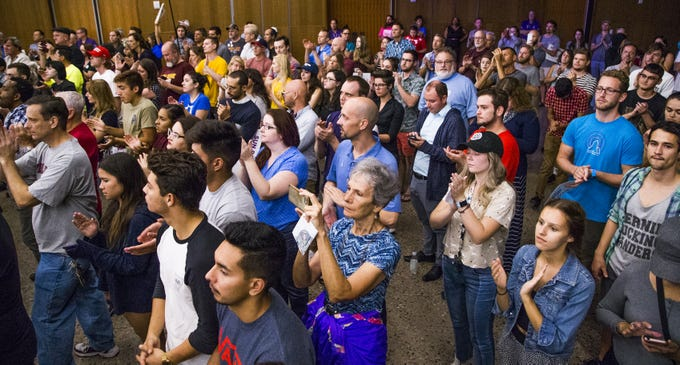 The crowd claps for Sen. Bernie Sanders as he endorses David Garcia for governor during a rally at Arizona State University, Tuesday, October 23, 2018.  The event was hosted by ASU Young Democrats.