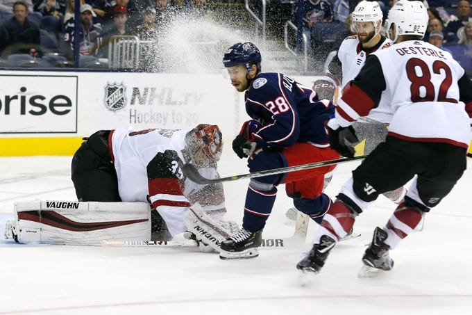 Oct 23, 2018; Columbus, OH, USA; Arizona Coyotes goalie Darcy Kuemper (35) makes a save against the Columbus Blue Jackets during the third period at Nationwide Arena.