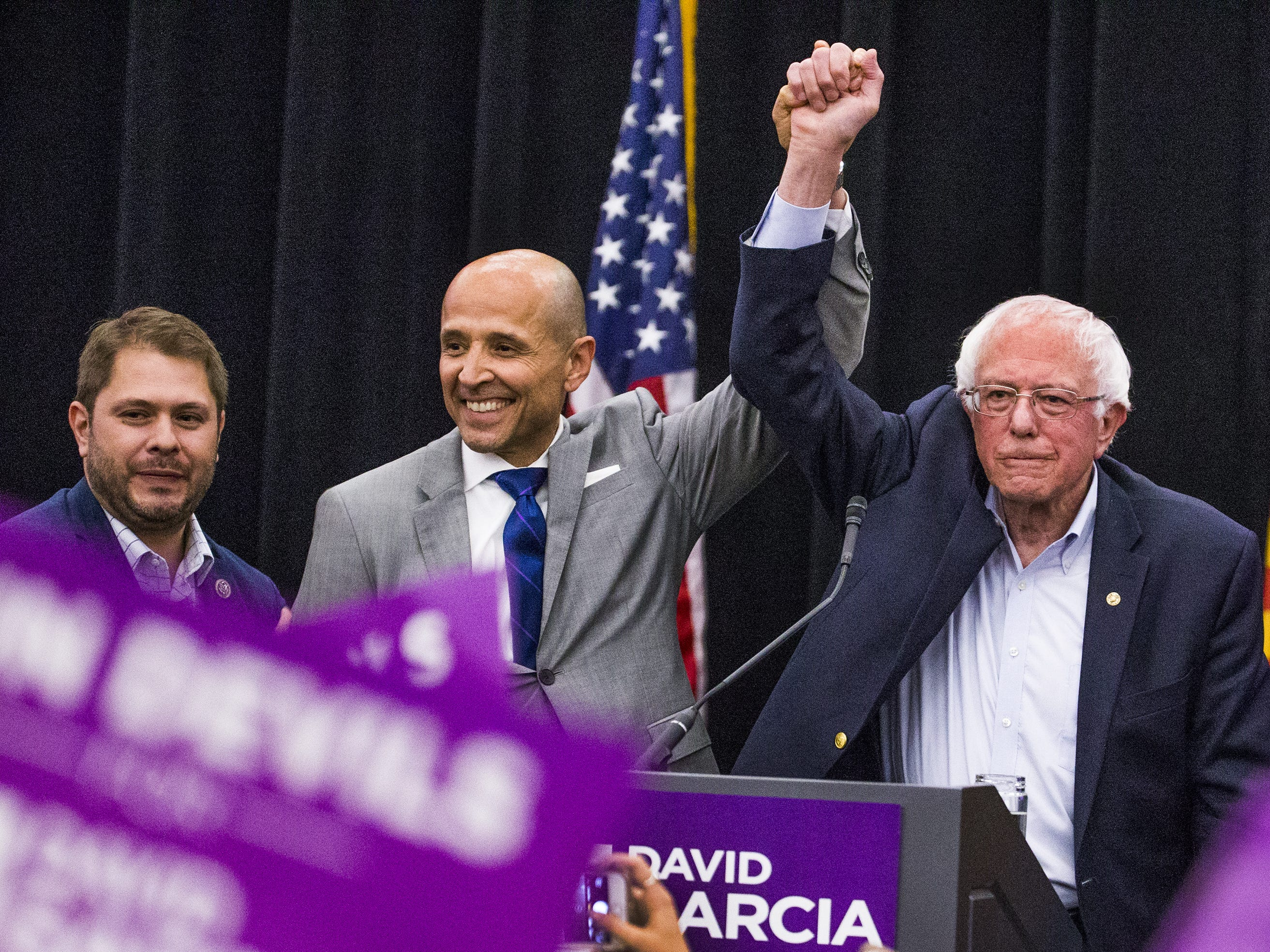 Rep. Ruben Gallego, left, and Sen. Bernie Sanders, right, endorse David Garcia for governor during a rally at Arizona State University, Tuesday, October 23, 2018.  The event was hosted by ASU Young Democrats.