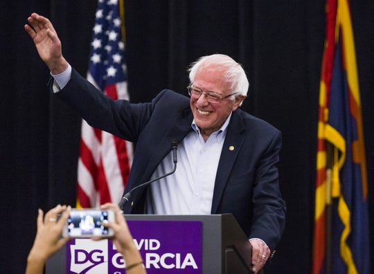 Sen. Bernie Sanders endorses David Garcia for governor during a rally at Arizona State University, Tuesday, October 23, 2018.  The event was hosted by ASU Young Democrats.