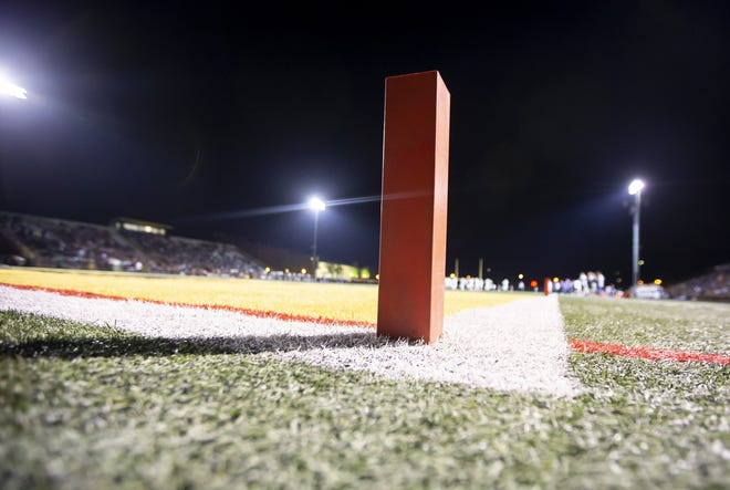A pylon during the game between the Horizon Huskies and the Notre Dame Prep Saints at Horizon High School on Friday, October 5, 2018 in Scottsdale, Arizona. #azhsfb ICON