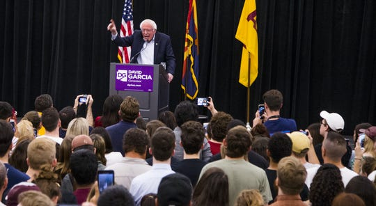 The crowd listens to Sen. Bernie Sanders as he endorses David Garcia for governor during a rally at Arizona State University, Tuesday, October 23, 2018.  The event was hosted by ASU Young Democrats.