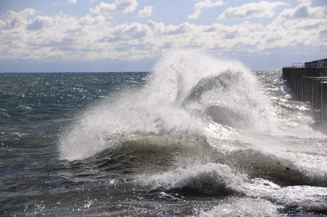 Large waves collide in Lake Huron near Port Sanilac.