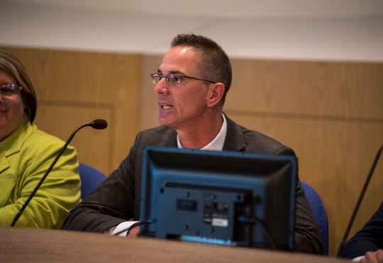 Port Huron City Council candidate Bob Mosurak speaks at a candidate forum Tuesday, Oct. 23, 2018 at the Municipal Office Center in Port Huron. Mosurak, a former Port Huron Housing Commission member who runs his own home improvement business, is one of eight candidates vying for a seat in the council.