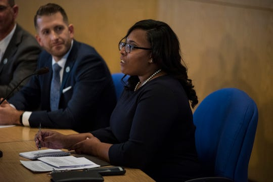 Port Huron City Council candidate Marissa Williams speaks at a candidate forum Tuesday, Oct. 23, 2018 at the Municipal Office Center in Port Huron. Williams, a current student at Western Michigan University's Cooley Law School, is one of eight candidates running for a seat on the council.