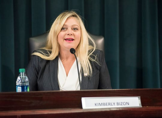 Democratic candidate Kim Bizon speaks in a forum for candidates Wednesday, Oct. 24, 2018 at Marysville City Hall. Bizon, who calls herself the progressive candidate, is finding focus on health care and environmental issues.